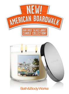 Summer Boardwalk 3-Wick Candle – hints of caramel-glazed popcorn, warm taffy-apples and salted, sweet cream