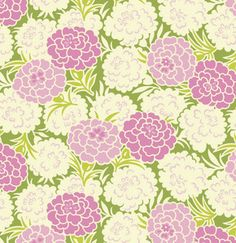 Fabric... Up Parasol Mums in Green by Heather Bailey for FreeSpirit