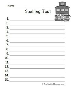 Fern's Freebie Friday ~ Year Round Blank Spelling Test Sheets #TPT #FREE