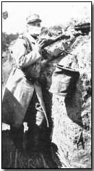 French soldier wearing a respirator