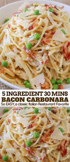 Easy Bacon Carbonara Pasta with just 5 ingredients is as easy as cooking pasta a. Easy Bacon Carbonara Pasta with just 5 ingredients is as easy as cooking pasta and bacon and it& ready to eat in 30 minutes. A classic recipe made EASY. Pastas Recipes, Side Dish Recipes, Cooking Recipes, Healthy Recipes, Cooking Pasta, Cooking Games, Cooking Utensils, Cooking Eggs, Pan Cooking