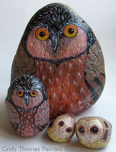 The owls painted on rock are beautiful!!