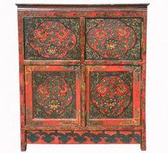 Красный шкаф с цветочным узором поднят, левкас, Тибет, вероятно, 19-го века