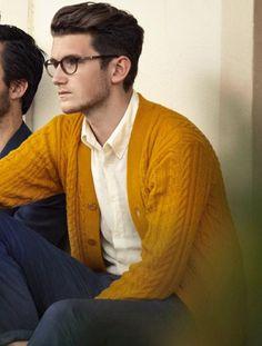 Truffol.com | Need a cardigan this color. #yellow #mustard #fall #style #urbanman #menswear
