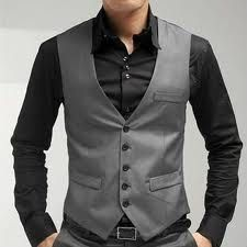 """Groom's Outfit - Similar Vest and matching pants sold by Express Men as """"The Photographer"""" image shows gray buttons but they are black when you order online."""