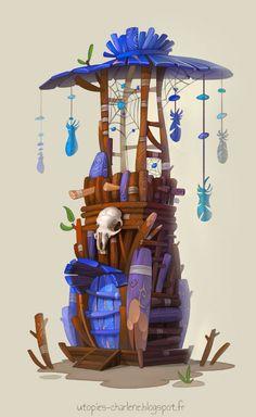 Fantasy concept art and illustration from Charlène Le Scanff AKA Catell-Ruz! Art Cg, Art Environnemental, Prop Design, Game Design, 2d Game Art, Modelos 3d, Art Et Illustration, Landscape Drawings, Visual Development