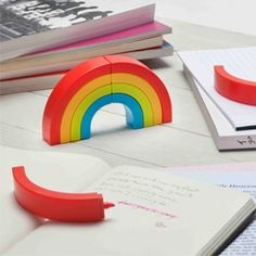 Rainbow highlighters will color your messages and cheer up your workplace.