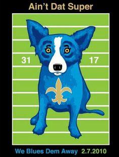 Super bowl blue dog