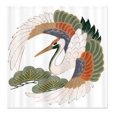 bird_crane_and_trees_shower_curtain.jpg (460×460)