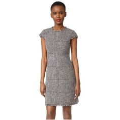 Rebecca Taylor Sleeveless Houndstooth Dress ($500) ❤ liked on Polyvore featuring dresses, teaberry combo, lining sleeveless dress, tweed dress, pattern dress, cap sleeve dress and hounds tooth dress