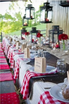 Love the gingham, dark cherry red and rustic wooden table. Rehearsal dinner #wedding #party #table #decor