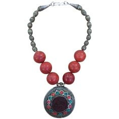 Pre-owned Antique Afghani Tribal Necklace With Huge Medallion, African... ($284) ❤ liked on Polyvore