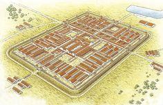"""Flavian fortress at Novaesium (Neuss), c. Roman Architecture, Historical Architecture, Ancient Architecture, Ancient Rome, Ancient History, Castle Layout, Imperial Legion, Game Of Thrones Artwork, Military Tactics"