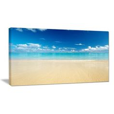 "DesignArt Sand of Beach in Calm Caribbean Shore Photographic Print on Wrapped Canvas Size: 12"" H x 20"" W x 1"" D"
