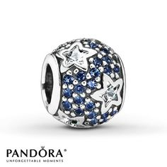 """Clear cubic zirconias shaped like stars twinkle against a blue crystal background in this """"Follow the Stars"""" sterling silver charm from the Pandora Holiday 2014 collection. Style # 791382CZ."""