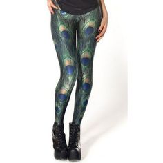 Multi Color Peacock Print Punk  Casual Club Leggings Size XS-S-M-L # Leg-029 | eBay