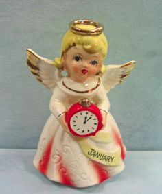 Vintage  January BIRTHDAY Girl Angel  Holding a Clock Happy New Year