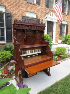 Early 1900s Moller Organ Company walnut pump organ that I converted into a fabulous functional writing desk with pullout keyboard slide tray.