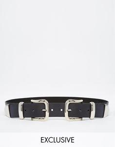 Imagen 1 de Cinturón western de cuero con doble hebilla de Retro Luxe London