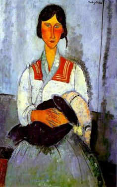 "mauveflwrs: Amedeo Modigliani - Gypsy Woman with. - mauveflwrs: ""Amedeo Modigliani - Gypsy Woman with Baby "" Amedeo Modigliani, Modigliani Paintings, Italian Painters, Italian Artist, National Gallery Of Art, Art Gallery, National Art, Gypsy Women, Baby Art"