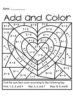 Valentine's Day Add and Color Activity...