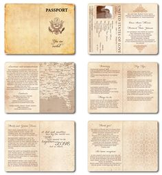 Wedding Invitation Passport Printable Template - Vintage Passport 6 pages. $30.00, via Etsy.