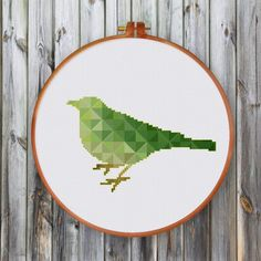Green geometric bird cross stitch pattern or cross stitch kit is a perfect gift for nature and bird lovers, a lovely hanging on your wall. Geometric Bird, Cross Stitch Geometric, Cross Stitch Bird, Simple Cross Stitch, Cross Stitch Animals, Modern Cross Stitch Patterns, Cross Stitch Designs, Cross Stitching, Cross Stitch Embroidery