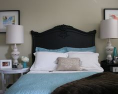 Black Matte headboard, white side tables-Painted Headboards Design, Pictures, Remodel, Decor and Ideas - page 2
