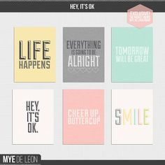 FREE Hey, It's OK journal cards by Mye De Leon in The Pocket Source Members Project Life Scrapbook, Project Life Album, Project 365, Life Journal, Journal Cards, Project Life Freebies, Pocket Scrapbooking, Day Book, Free Downloads