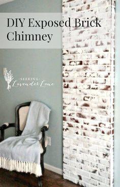 DIY Faux Brick Exposed Chimney