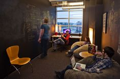 More inspiring collaboration spaces - use of magnetic chalk boards, more wall space, more causal atmosphere