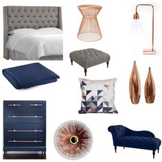 If you have the space, I recommend a chaise lounge in every master bedroom! My husband and I use it mostly to snuggle with a good book. I have to admit, I also have a starburst on my wall and a gray tufted wingback bed with nail head trim. Maybe it's time to throw some copper and navy in there?!?! :) Enjoy this #moodboard and hopefully it inspires your master bedroom ✨