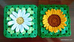 Sunflower granny square - free crochet pattern