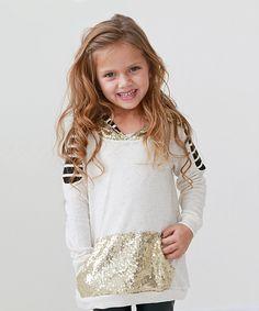Look what I found on #zulily! Cream Sequin & Stripe Hoodie - Girls by PeekABootSocks #zulilyfinds