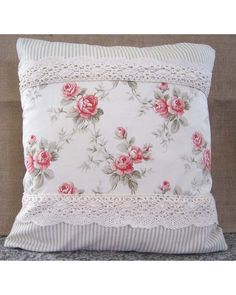 sweet ~ shabby roses, ticking stripe fabric & lace.