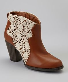 Take a look at this Cognac & White Crocheted Lace Ankle Boot by Bumper on #zulily today!Crocheted Lace Ankle Boot    $29.99