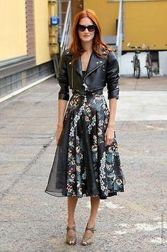 Black leather - '50's Print skirt.