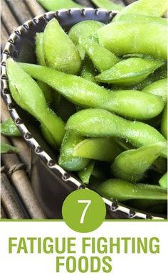 7 Fatigue Fighting Foods - Spinach, Beans, Eggs, Almonds, Edamame, Oats, Bananas (iron, protein, vitamin B, fiber)