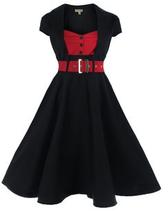 Lindy Bop Women's 'Geneva' 1950's Vintage Inspired Swing Party Dress at Amazon Women's Clothing store: Retro Swing Dress