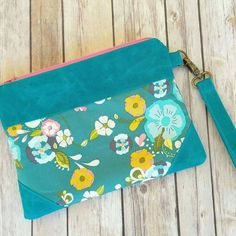 Teal Floral Clutch PurseTeal ClutchModern by ditsybritishcraft