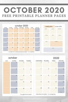 Free Printable Planner Pages October 2020 - Monthly and Weekly Planner Layouts - Letter and Classic HP Sizes - @momfindsout Mom Always Finds Out