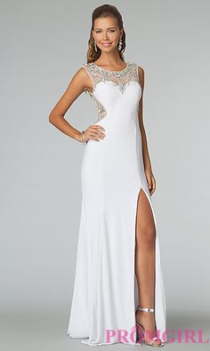 High Neck Gown with Sheer Back JVN by Jovani at PromGirl.com