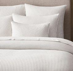 *actual* Duvet $289 & Euro Sham $89!! Soft Cotton Pinstripe Duvet Cover