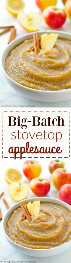 Lightly spiced and loaded with cozy fall apple flavors, this easy big batch-style stovetop applesauce cooks in minutes on the stove and is the perfect way to use up all those fall apples! Apple Pie Recipe Easy, Easy Pie Recipes, Apple Pie Recipes, Honey Recipes, Canning Recipes, Fruit Recipes, Fall Recipes, Snack Recipes, Snacks