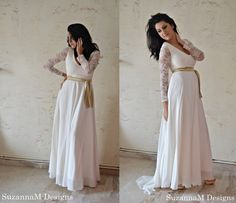 70s Wedding Dress / Maxi Bridal Ivory Lace and Muslin Wedding Gown / Handmade by SuzannaM Designs