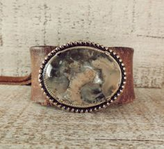 Leather Cuff / Statement Stone Jewelry / Chunky by AFOLKTALE, $22.00