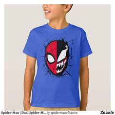 Check out this split face design featuring Spider-Man and the left and Venom grinning wide on the right. Spiderman Face, Parker Spiderman, Amazing Spiderman, Venom Shirt, Marvel Store, Heroes Peter, Venom Face, Face Design, Deep