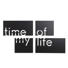 UMBRA 'Time of My Life' Metal Wall Tiles ($20) ❤ liked on Polyvore featuring home, home decor, wall art, fillers, words, text, quotes, backgrounds, phrases and magazine