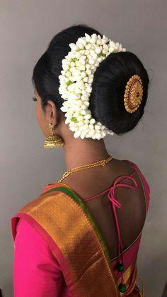 Bridal Hair Buns, Indian Jewelry Earrings, Low Buns, Beautiful Buns, Big Bun, Hand Bouquet, Cut Hairstyles, Indian Hair, Corsage