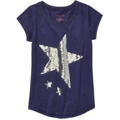 Colette Lilly Girls' Twinkle-Tees Short Sleeve T-Shirt with Sequin Art, Size: 6X, Blue